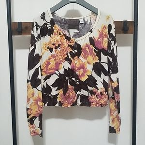 Anthro Guinevere Floral Cropped Cotton Cardigan